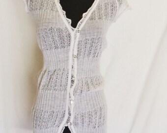 Lace knit Blouse/ Mini Dress, Classic White, Short Sleeves, Vintage Woman Fashion, HALF OFF S A L E
