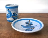 Vintage Mexican Cup & Saucer Set, Blue Bird Folk Art Pottery, Handpainted from Mexico, Matching Mug and Plate