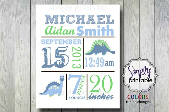 Dinosaur Birth Announcement 8x10 Printable Nursery Wall Art Printable