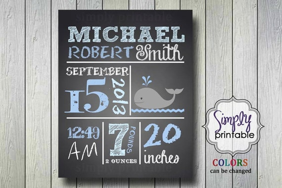 Baby Boy Nursery Wall Print Blackboard