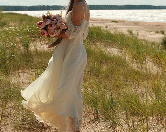 Cream, butter silk chiffon,viscose, lace bridal gown, boho wedding dress - made by your measurments