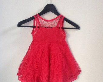 Sale!!! READY-TO-SHIP Red Lace Sweetheart Dress - 6T/7T - Christmas - Holiday - Special Occasion - Flower Girl