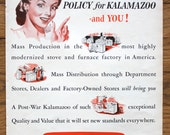 Vintage Kalamazoo Stove & Furnace Company Advertisement Life Magazine October 2, 1944