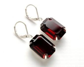 STUNNING RED Earrings Jewel Earrings Silver Bridesmaid Earrings Vintage Earrings Swarovski Victorian Steampunk Jewelry Victorian Curiosities