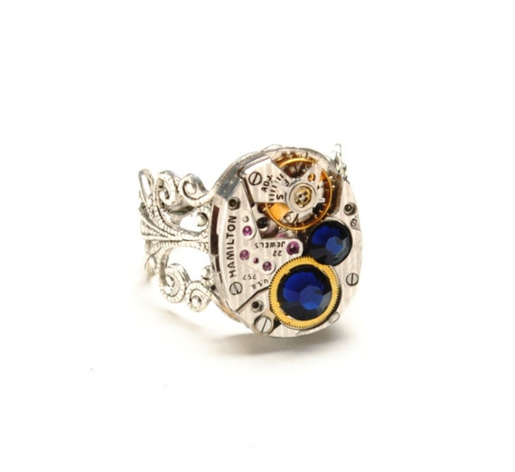 SEPTEMBER Steampunk Ring, SAPPHIRE STRIPED HAMilton Steampunk Watch Ring, Blue Silver Ring Victorian Steampunk Jewelry VictorianCuriosities