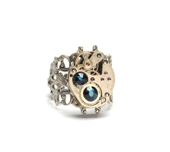 TEAL BLUE Steampunk Ring Steam Punk Ring Vintage Steampunk Watch Ring Antique Silver Ring Victorian Steampunk Jewelry Victorian Curiosities