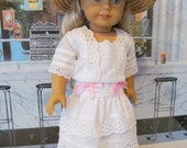 Historical Dress,  Eyelet Dress,  Victorian Dress,  Straw Hat,  18 Inch Doll Clothes