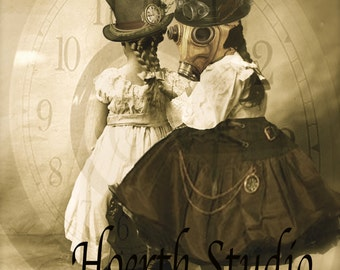 vintage steampunk  gas mask Tiny Time Travelers Collage instant download