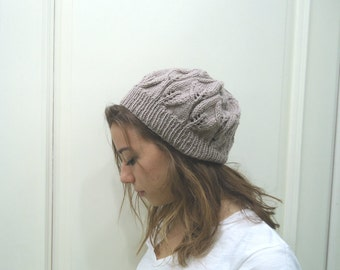 Hand Knitted  slouchy beanie ,leaf hat beanie,milky brown-mink hat