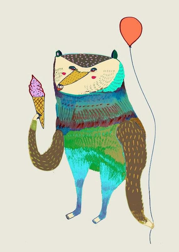 Fun Bear Kids decor nursery wall art print