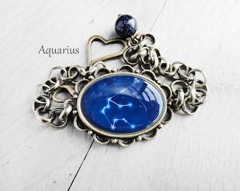 "Get 15% OFF - Handmade Resin "" Aquarius"" Constellation Sign Antique Bronze Oval Cabochon Bracelet - Labor Day SALE 2016"