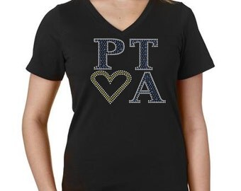 ADULT Size  PTA Bling Crystal Rhinestone Shirt Match your SCHOOL