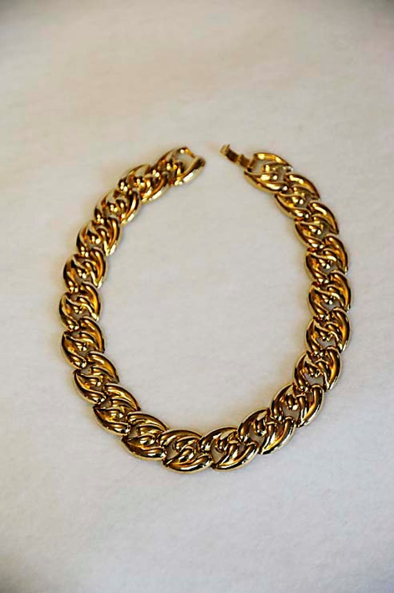 Vintage Retro Quality Goldtone Metal Chunky FLEXIBLE LINK NECKLACE