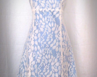 Sky Blue and Ivory Lace Tea Length Simple A-line Wedding Dress-Limited Edition Made-to-Order