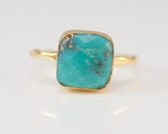 Turquoise Ring Gold, December Birthstone Ring, Gemstone Ring, Solitaire Ring, Gold Ring, Stacking Ring, Statement Ring, Boho Ring