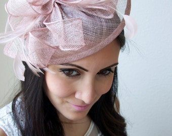 "Blush Fascinator - ""Penny"" Mesh Hat Fascinator with Mesh Ribbons and Blush Pink Feathers"