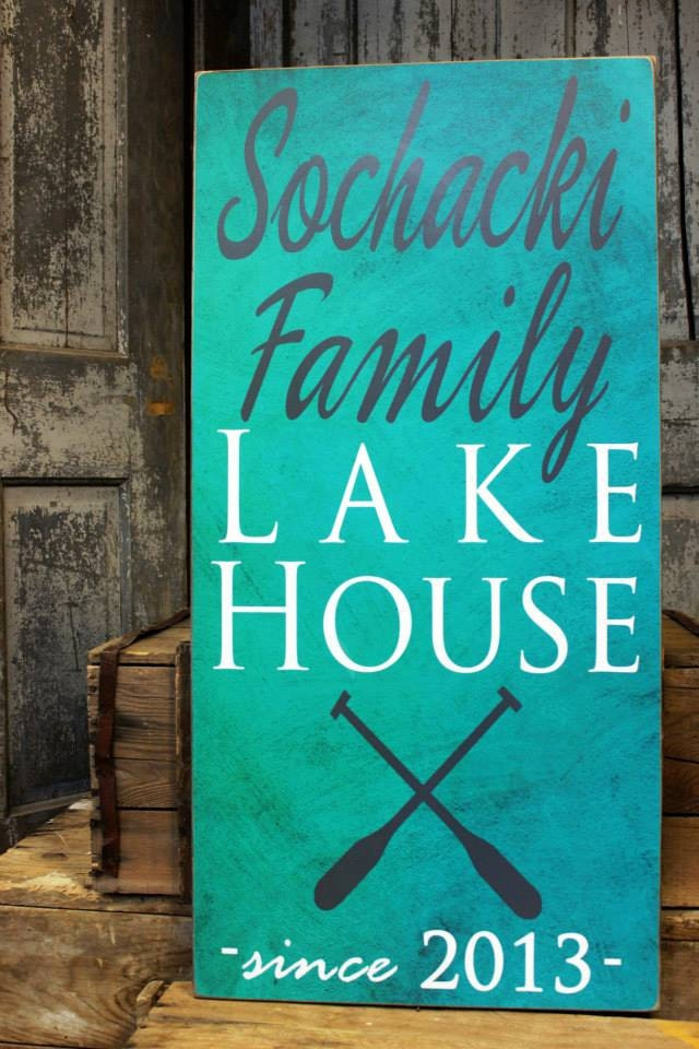 Lake House Decor Sign With Boat Oar Is Personalized With