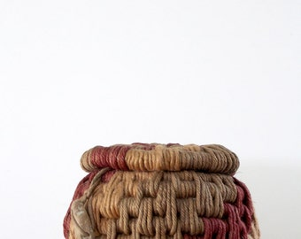 FREE SHIP vintage rope basket, coiled basket, Nova Albion Weavers