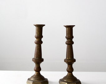 antique brass candlesticks, baroque style large candle holders, hacienda taper holders