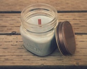 Mason Jar Candle - Bricklayer Scent - Scented Soy Candle - Container Candle - Eco Soya 8oz Rustic Candle Decor