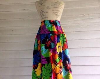 Vintage 80s TROPICAL Jungle Skirt