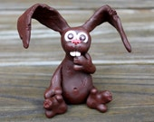 Chocolate Easter Bunny Polymer Clay Sculpture