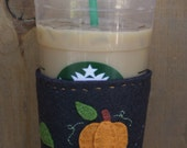 SALE 25% OFF Pumpkin Halloween Fall Felt Cup Cozy
