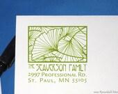 Ginkgo Return Address Art Deco Address Stamp Square Design Craftsman Ginko Address Label