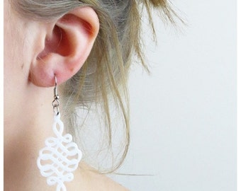 White Spiral Earrings - Chinese knot dangle earrings  - Casual Jewelry - Laser Cut Jewelry - Acrylic Jewelry - love knot earrings