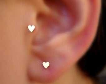 Tragus Earring - Cartilage Earring - Nose Ring Stud - 14K Solid Yellow Gold Heart Tragus Stud - Tragus Piercing
