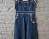 1970s denim Gunne Sax dress with spaghetti straps