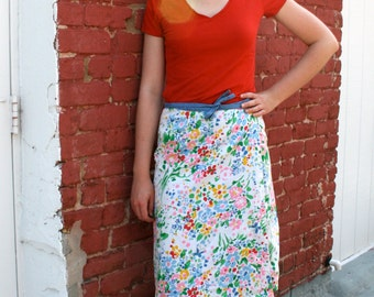 1970s Reversible Blue and White Floral Print Wrap Skirt
