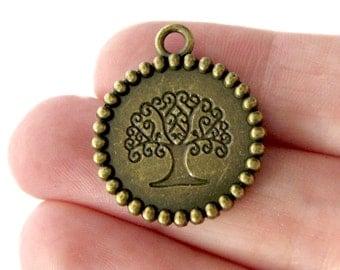 Bronze Charms : 10 Antique Bronze Tree of Life Charms | Life String Pendants ... 22x26mm -- Lead, Nickel & Cadmium Free  14857.J6E