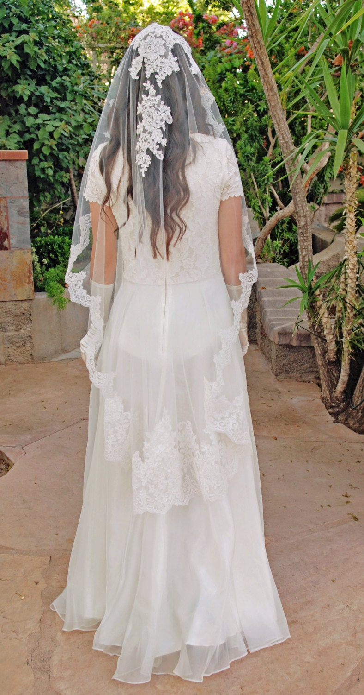 Wedding Veil Alencon Lace Mantilla Wedding Veil Spanish