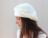 White  Hat, white beret Cap, crocheted hat, Womens Crocheted Accessories