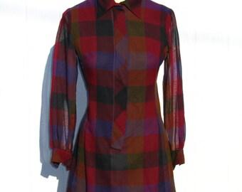 SALE 60s Plaid Mini Dress * Cotton Mini Dress * Red and Purple Dress * Go Go Dress * 1960s Dress *  AnR Jr