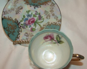 Vintage footed Teal Gold Scrolls Rose Floral Teacup Demitass Saucer NORCREST Fine China  Handpainted