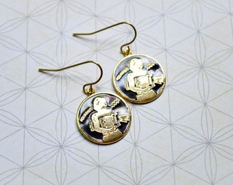 Aquarius Earrings - Zodiac Jewelry - Vintage Enamel Charms - Astrology - Zodiac Earrings - Water Sign