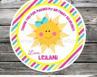 Set of 12 Personalized Favor Tags -Sunshine- Pink Yellow Turquoise- Chevron-Thank You Tag -Gift Tag -Baby Shower -Birthday-Sticker-Sun