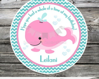 Set of 12 Personalized Favor Tags -Whale-Preppy Whale-Chevron-Under the Sea-Thank You Tag -Gift Tag -Baby Shower -Birthday-Sticker
