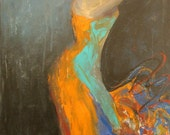 Reserved JSEBITS - no buy OOAK flamenco spanish dancer orange tourquise dancer