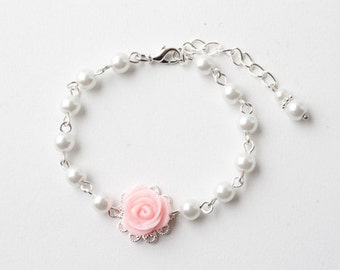 Pink rose Flower girl bracelet, pink and white, Bridesmaid bracelet, delicate bracelet, girl bracelet, pink wedding jewelry, made in Canada