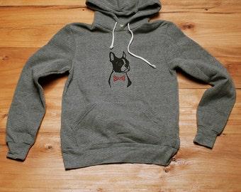 Boston Terrier Hoodie, Grey Sweatshirt, Unisex Hoodie, S-XXL