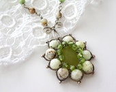 Wire wrapped handmade artisan necklace sterling silver jade chrysoprase gemstone green jewelry
