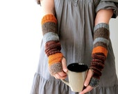 Hand knit arm warmers / urban rustic / autumn color / earthy brown / rust / pumpkin orange / rustic gray / arm cozy / mix and match for her