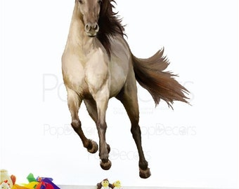 Repositionable Fabric Horse Wall Sticker Living Room Printed Wall Decals - Running Horse -  Wall Decors Removable Wall Arts prt0008