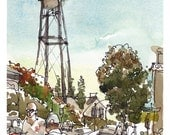Campbell Water Tower, California, Watercolor sketch painting, fine art print