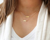 Gift for Mom, Two Initial Necklaces, Gift for Sister, Layered Necklace Set, Delicate Gold Necklace, Personalized Necklace, Tiny Bar Necklace