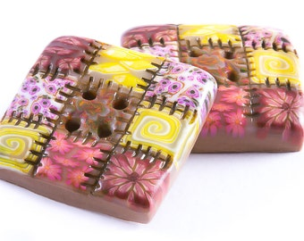 Polymer clay buttons large square patchwork quilt old rose set of two
