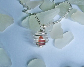 Sea glass necklace. Red and white multi colored sea glass necklace. Beach glass jewelry.